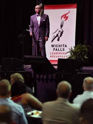 Emmy-nominated speaker Mark Brown was the keynote speaker Friday morning at the Wichita Falls Leadership Breakfast at Kay Yeager Coliseum.