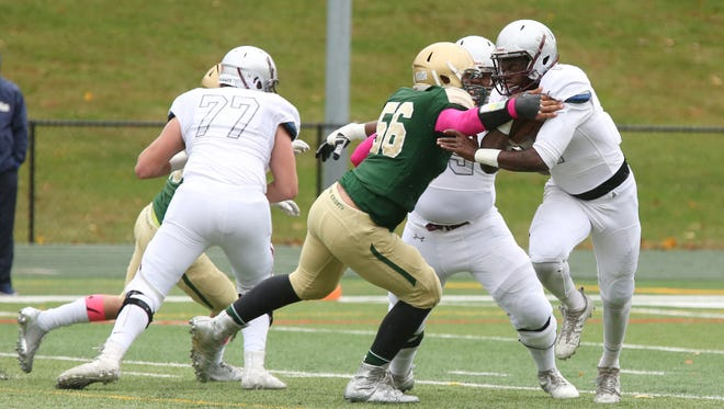 Howard Cross III (No. 56) has played a key role in St. Joseph's defense. Cross is the Green Knights' second-leading tacklers with 86 and has become one of the top defensive ends in North Jersey.