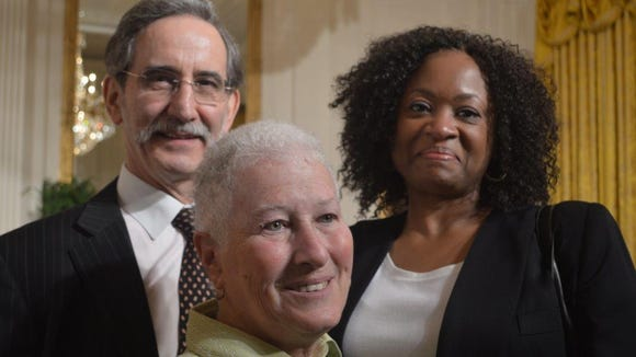 Families of the three civil rights workers killed in Neshoba County in 1964 were presented the Medal of Freedom Monday by President Obama at the White House. From left are David Goodman, brother of Andrew Goodman; Rita Bender, widow of Michael Schwerner, and Angela Lewis, daughter of James Chaney.