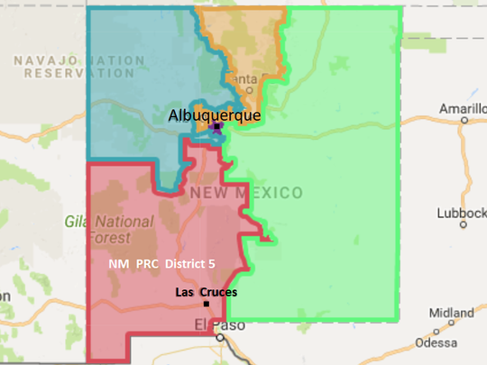 The boundaries of the New Mexico Public Regulation Commission District 5 seat are shown in red.