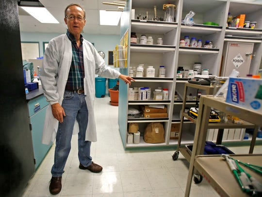 Don Hyder, biology professor and co-director of the horticulture program, shows shared space in the bio lab prep area between the biology and horticulture programs on Wednesday in the West Classroom Complex at San Juan College in Farmington.
