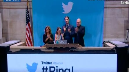 Twitter users ring the opening bell at the New York Stock Exchange on Nov. 7 in New York City.