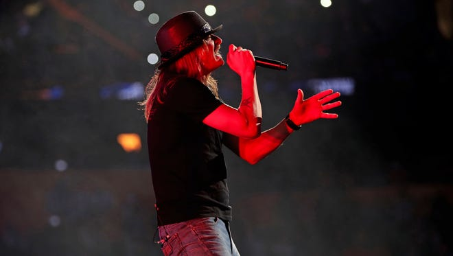 Kid Rock performs during the 2018 NHL All Star Game at Amalie Arena.
