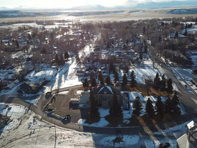 "A drone photo of Choteau from ""Weekend Guide To"" shows"