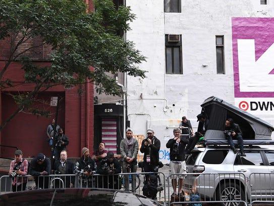 Paparazzi camp outside Kanye West and Kim Kardashian's