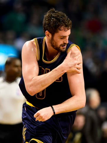 Kevin Love suffered a dislocated left shoulder against