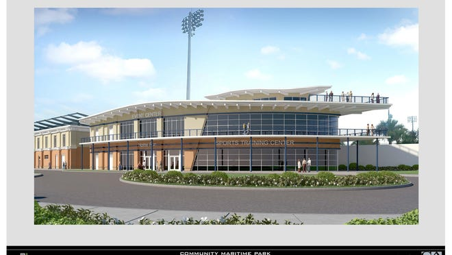 The design committee of the Community Maritime Park Associates approved the preliminary conceptual designs proposed by Quint Studer for parcels 3, 6 and 9. Parcel 9 could house athletic facilities for the Blue Wahoos and a conference center.
