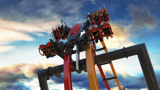 The free-fly coaster will lift riders up a 12-story, 90-degree hill before flipping them head-over-heels at least six times in wing seats, providing a feeling of weightlessness.