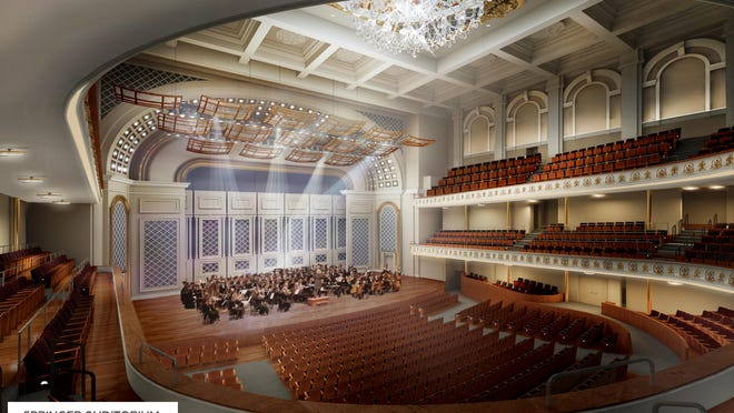 "A rendering of Music Hall with the new ""thrust"" stage."