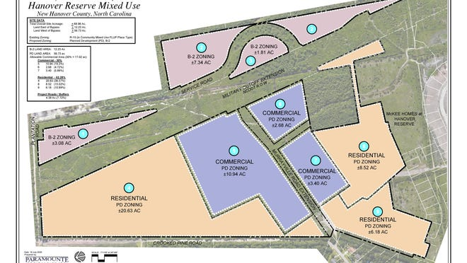 The proposed layout of the Hanover Reserve mixed-use development, which could be headed to consideration by the county.