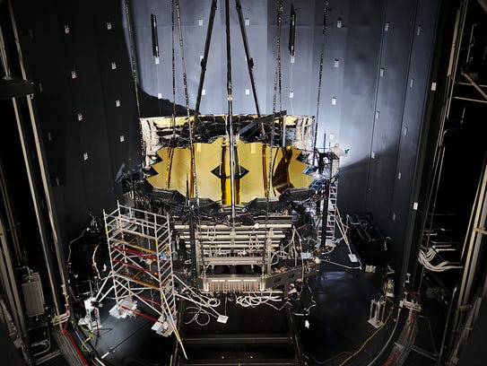 NASA's James Webb Space Telescope sits inside Chamber