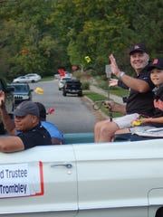 Bill Trombley waves to the crowd at the Brighton Homecoming