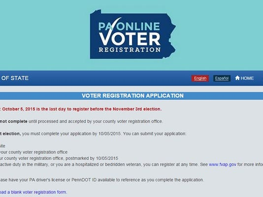 As of Thursday, Aug. 27, 2015, Pennsylvanians can register to vote online at the Department of State's website.