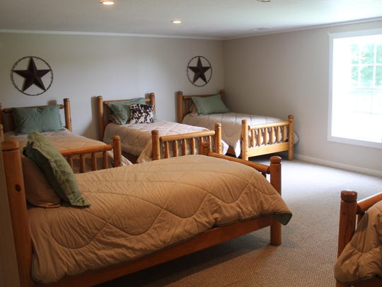 The bunk room at the Clover Creek Lodge has six beds