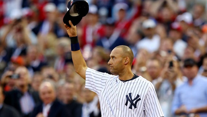 American League All-Star Derek Jeter of the New York Yankees acknowledges the crowd after being pulled in the fourth inning during the 85th MLB All-Star Game on Tuesday.