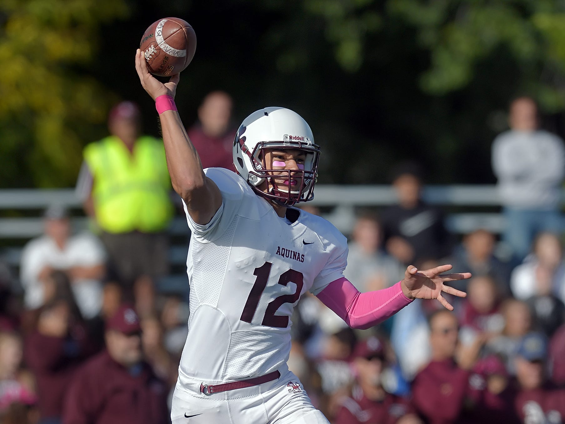 Aquinas quarterback Jake Zembiec passed for a Section V record 3,007 yards and 37 touchdowns to lead his team to 13-0 record and state title. He continues to pile up post-season honors.