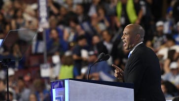 Sen. Cory Booker of New Jersey addresses the Democratic convention on July 25, 2016.
