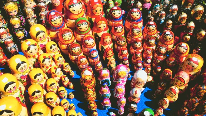 A sample of matryoshkas, not from Marketta's collection.