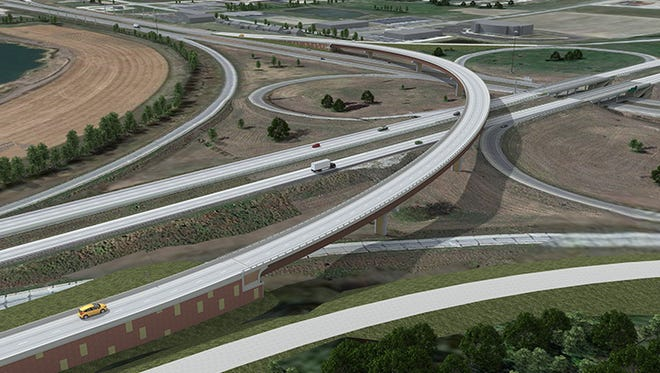 This image shows plans for a new interchange at I-35 and U.S. 30 that is under construction near Ames,