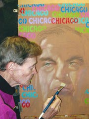 Paul Brewer is shown working on a sample portrait illustration of Richard M. Daley when he was Chicago's mayor several years ago. The sample portrait was never exhibited, Brewer said