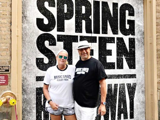 Gale and Bill Gray of Asbury Park outside the Watler Kerr Theatre on Broadway in Music Saved Asbury Park T shirts.