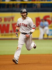 Boston Red Sox second baseman Dustin Pedroia (15) celebrates