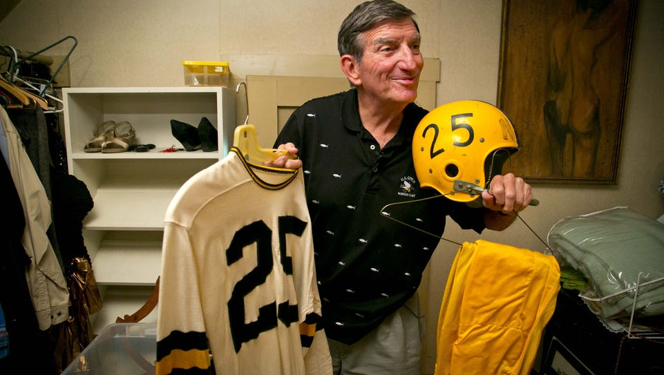 Randy Duncan displays his Iowa football uniform at