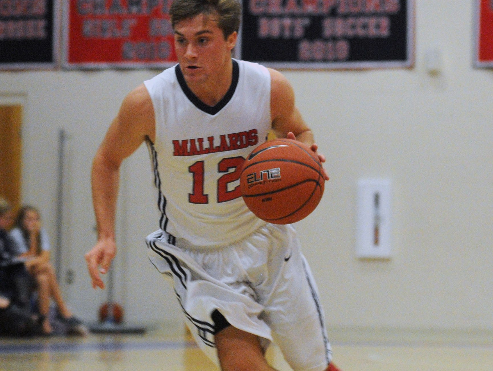 Worcester Prep's Owen Nally drives the lane against Broadwater Academy on Monday. The Mallards lost 61-43.