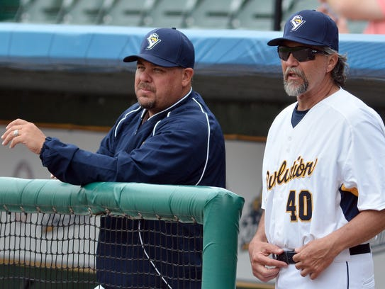York Revolution pitching coach Paul Fletcher, left, and manager Mark Mason are seen here during the 2017 season. The two men helped guide the Revs to an Atlantic League title. YORK DISPATCH FILE PHOTO