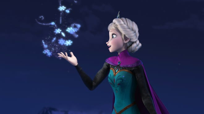 """This image released by Disney shows Elsa the Snow Queen, voiced by Idina Menzel, in a scene from the animated feature """"Frozen."""" The film was nominated for a Golden Globe for best animated film on Thursday, Dec. 12, 2013.  The 71st annual Golden Globes will air on Sunday, Jan. 12."""