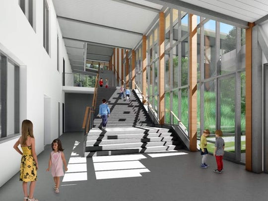 The covered entryway of the new Blakely Elementary School featured wooden stairs and ceilings. To save money, Bainbridge Island School District opted to go with far less wood in the entryway. This architectural drawing shows the design with less wood.