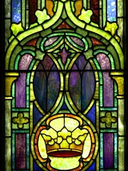 A crown- from one of six narrow Tiffany panels at Central Presbyterian Church in Haverstraw.