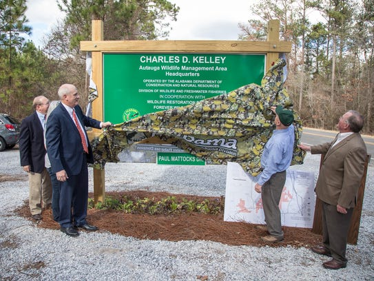 The sign for the new Charles D. Kelley Autauga Wildlife