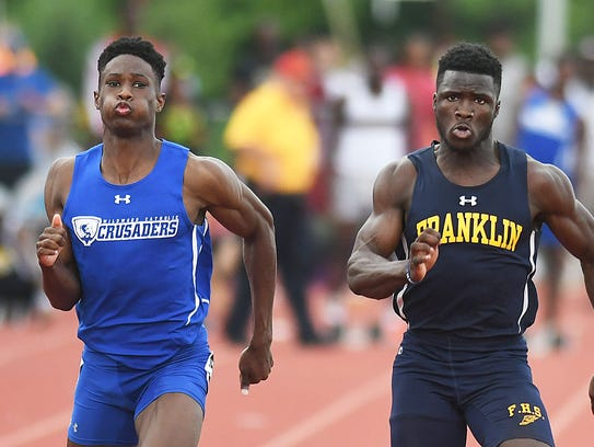 Franklin's Mario Heslop wins the 100 dash at the Meet of Champions.