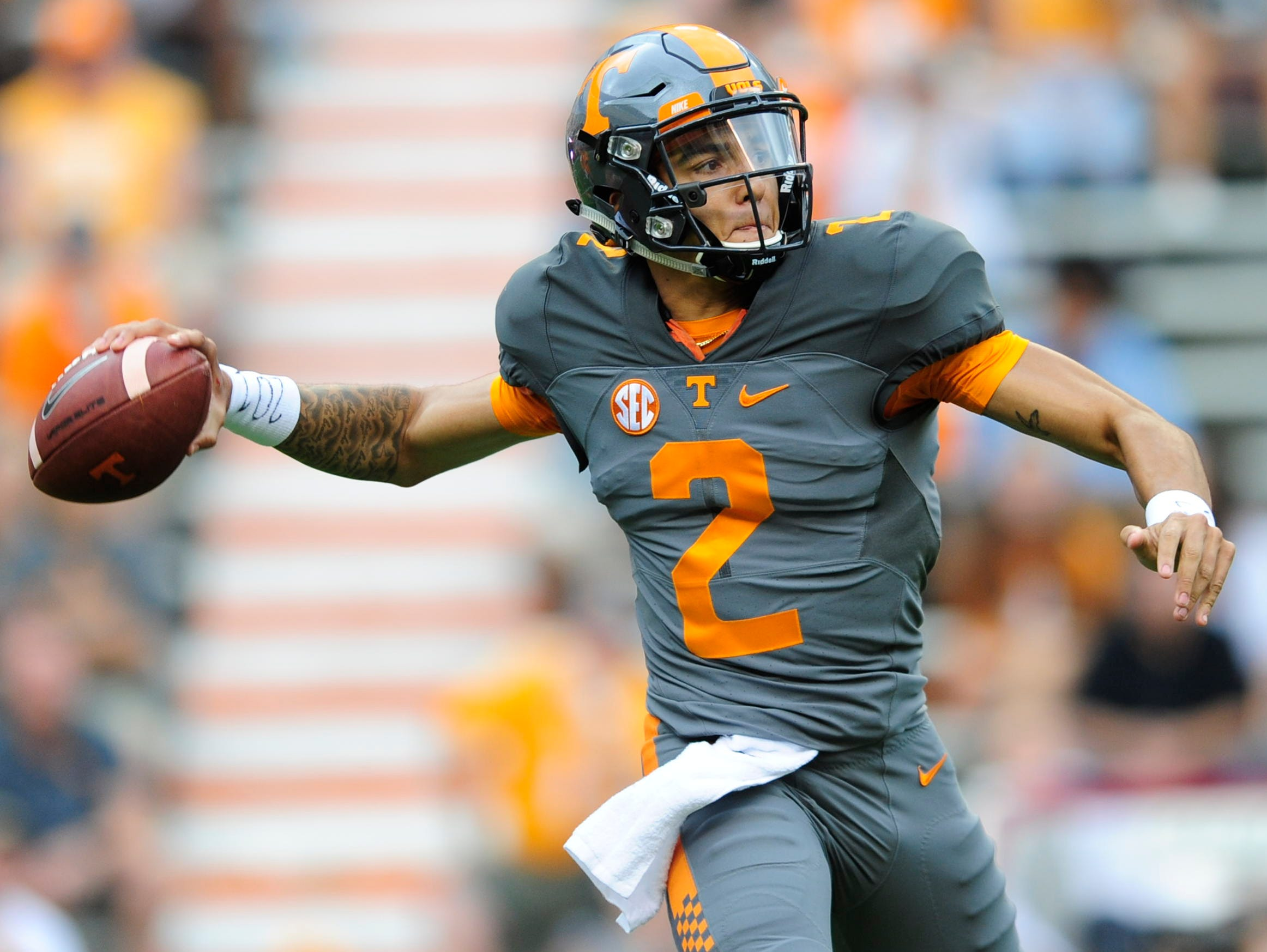 University of Tennessee's quarterback Jarrett Guarantano (2) throws a pass during the Orange & White Game at Neyland Stadium in Knoxville, Tennessee on Saturday, April 22, 2017.