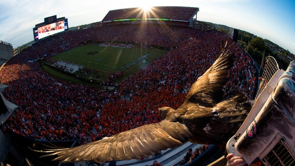 Nova enters Jordan-Hare Stadium before the NCAA football