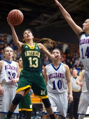 Mayfield point guard Laramie Tesillo drives the lane