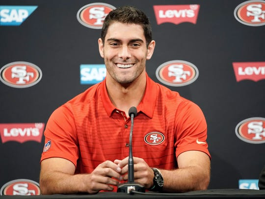 49ers quarterback Jimmy Garoppolo meets with the media in San Francisco on Tuesday.