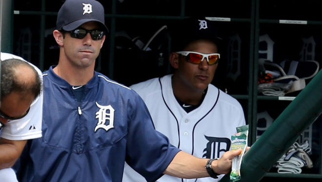 The Detroit Tigers manager Brad ausmus watches fifth inning action against the Toronto Blue Jays on Sunday, July 5, 2015 at Comerica Park in Detroit Michigan.