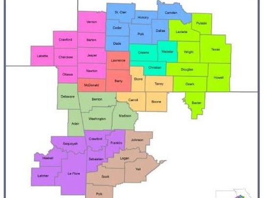 A map shows which counties, across four states, are
