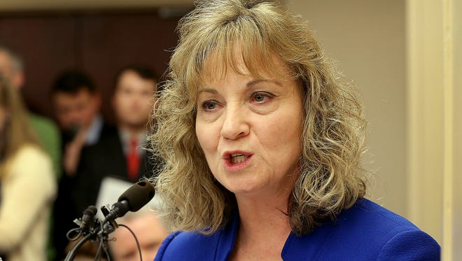 State superintendent Glenda Ritz addresses the Indiana House Education Committee on Jan, 29, 2015, as it considers a bill to strip of her power.
