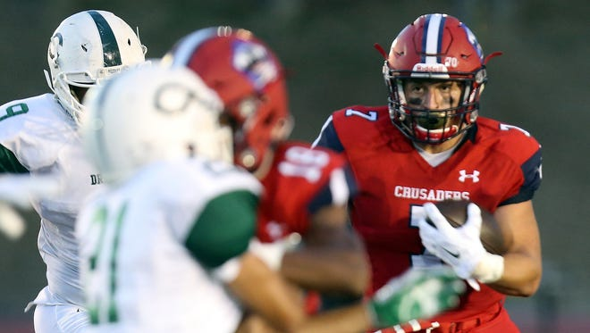 Stepinac's Antonio Giannico (7) pushes the ball up the field during the Joseph R. Riverso Memorial football game against Cornwall at the high school in White Plains on Sept. 9, 3016.