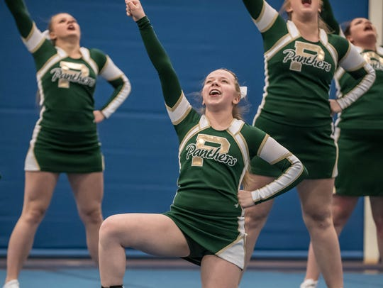 Pennfield junior Samantha Campbell (center) during