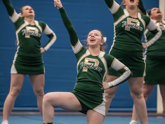 Pennfield junior Samantha Campbell (center) during the Interstate 8 League Finals Wednesday evening. Campbell was in a severe car accident a couple years ago.