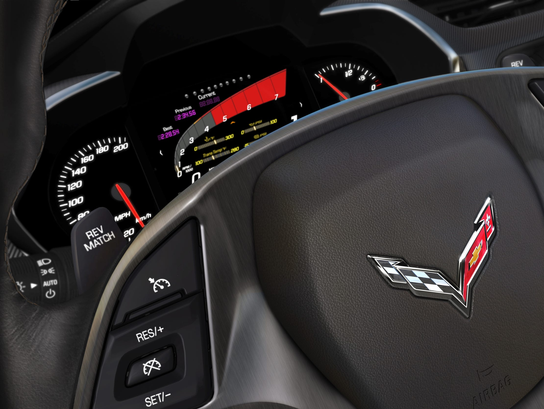 The 2014 Corvette Stingray features an 8-inch LCD screen sitting between the speedometer and the fuel and engine temperature gauges. The drive can configure the information displayed there.