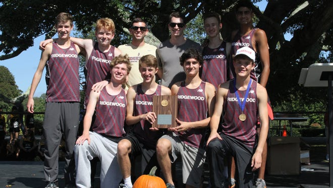 The winning Ridgewood boys cross-country team  at the Ocean State Invitational at Goddard Park East in East Greenwich, R.I.  on Sept. 23, 2017.