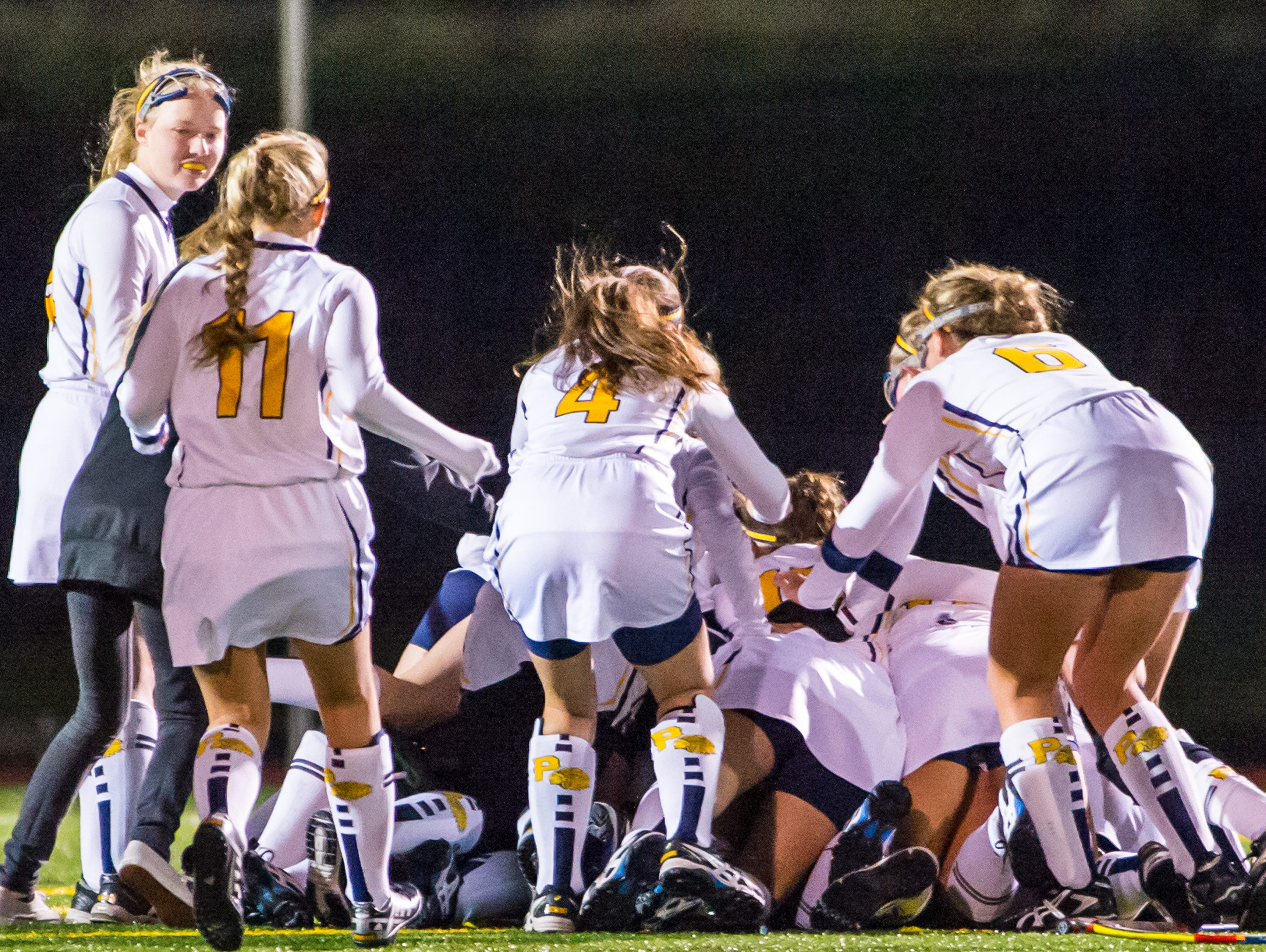 Pocomoke celebrates winning the MPSSSAA 1A State Finals on Saturday evening at Washington College in Chestertown