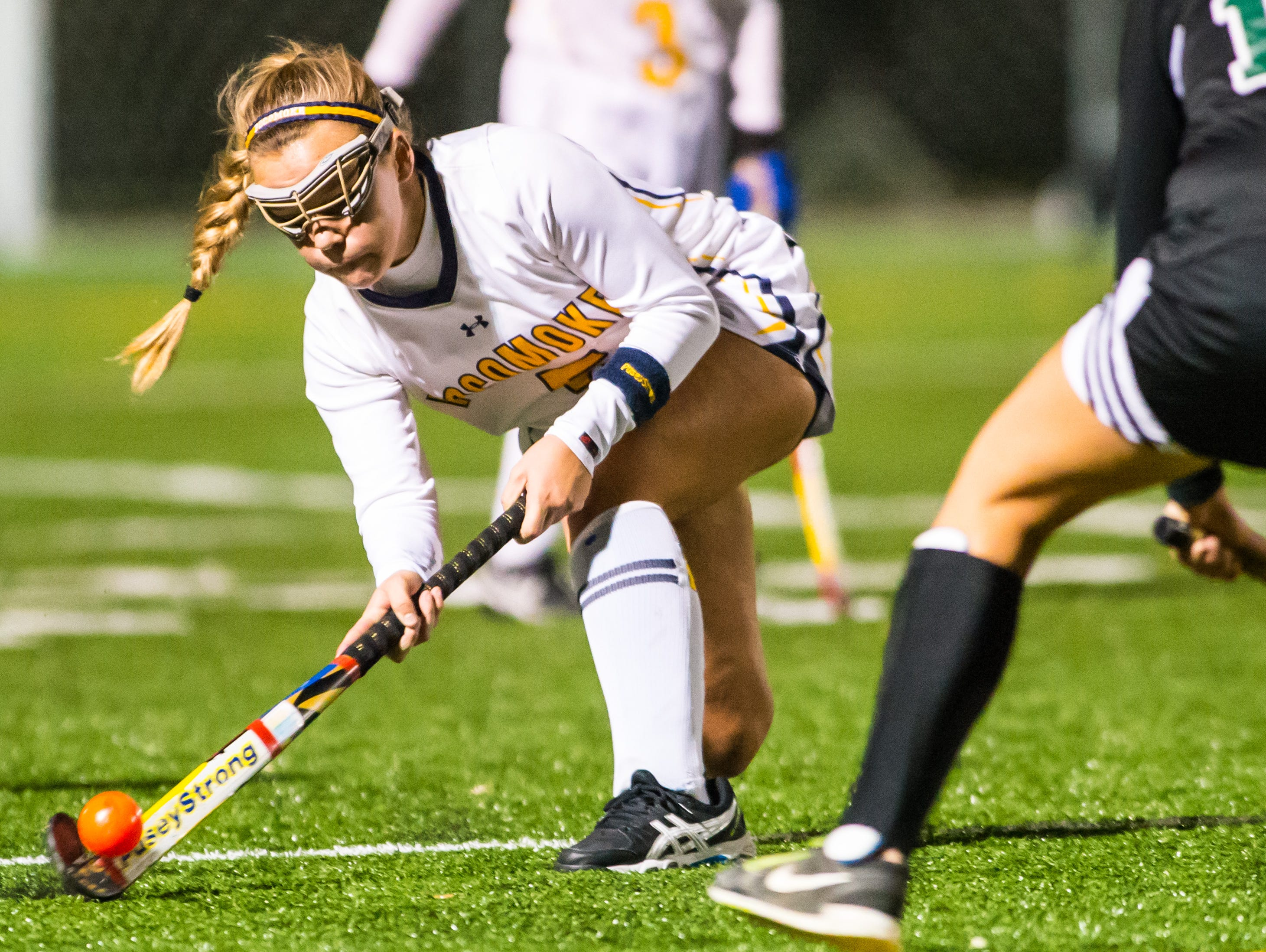 Pocmoke midfielder Mckenzie Mitchell (5) works up field against Patuxent in the MPSSSAA 1A State Finals on Saturday evening at Washington College in Chestertown