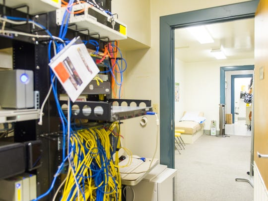 A repurposed storage room contains both a nurses office and network wiring for the entire school at the Sussex Consortium in Lewes on Friday, January 8th.
