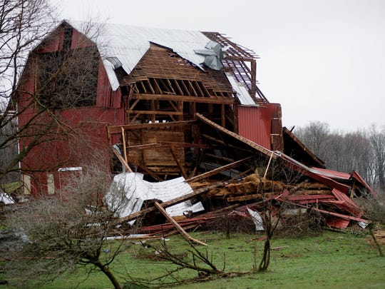 Severe weather damage is seen off of 92nd Street between
